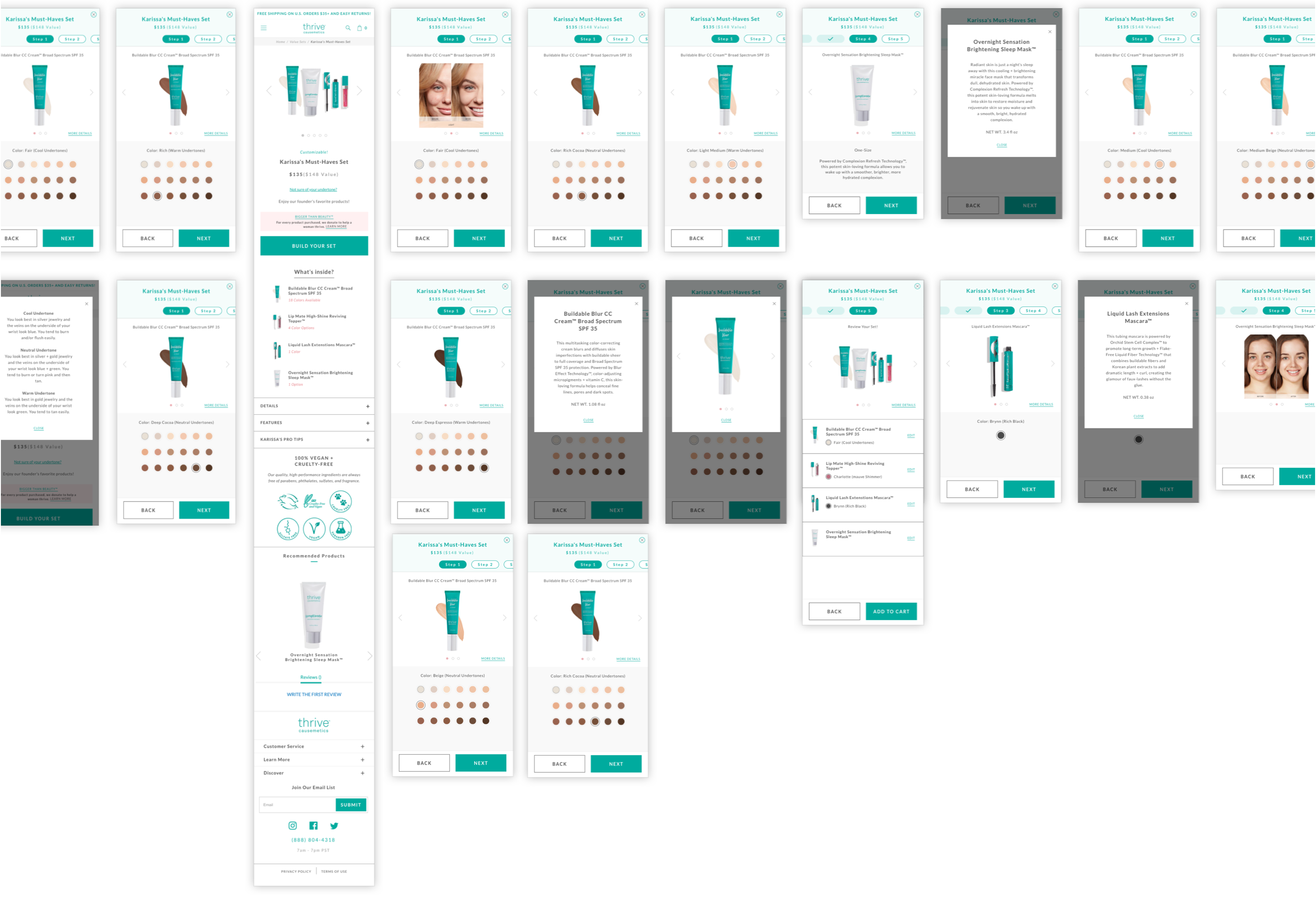 Thrive Causemetics Usability Testing Screens